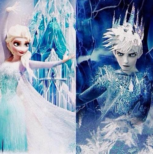 Love how they did Elsa as the beautiful and peaceful winter and that Jack can be a harsh cold winter like he's depicted in his myth.