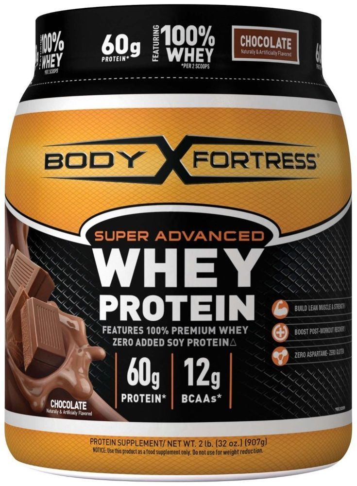 Body Fortress Whey Protein Powder Super Advanced Sport Chocolate Drink Shake 2lb #BodyFortress