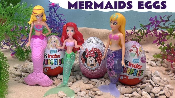 Mermaid Surprise Eggs Princess Ariel Barbie Frozen Play Doh Kinder Disne... Surprise Eggs all pushed into the sea by Tick-Tock but taken to the sea bed by 3 Mermaids. There they are opened to reveal their surprise toys. #surpriseeggs   #mermaid   #disney   #princess   #barbie   #kinder   #frozen   #minniemouse   #hellokitty   #littlemermaid