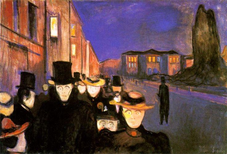 Edvard Munch Sera sulla Karl-Johan Strasse 1892