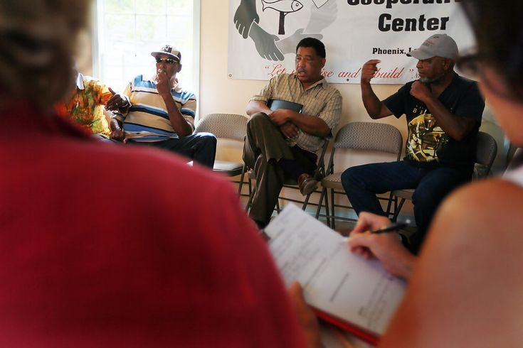 Fisherman, Arthur Reddick, (L-R) Byron Encalade, the President of the Louisiana Oystermen Association and Gary Barthelemy during a meeting with top U.S. Department of Labor officials to discuss the ongoing economic effects of the BP oil spill