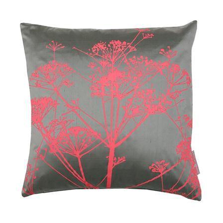 Cowparsley Silk Cushion, Storm & Coral