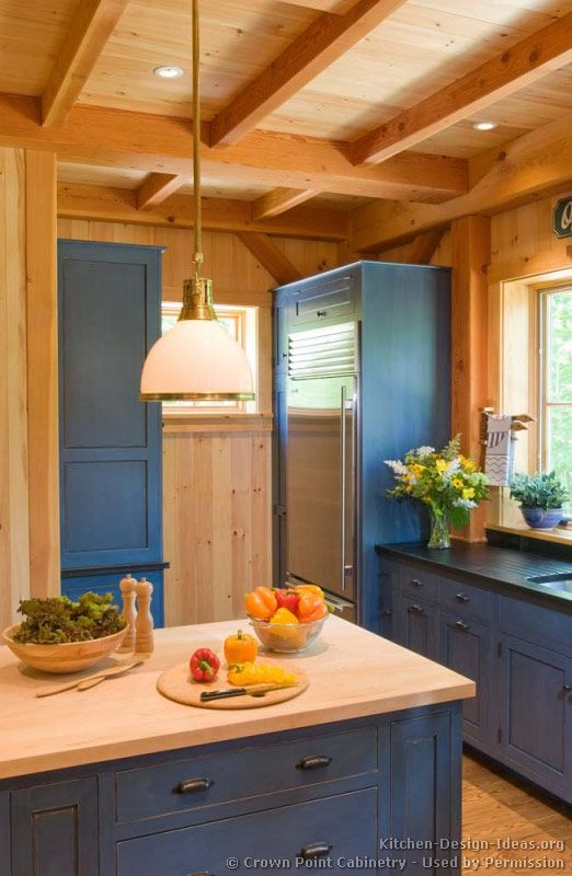 #Kitchen Idea Of The Day: Rustic Kitchen With Blue Cabinets (By Crown Point