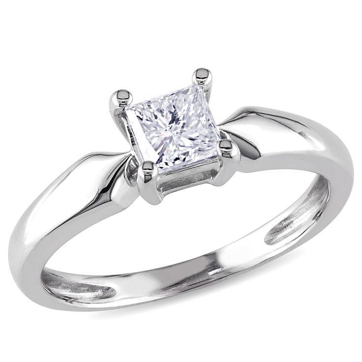 Miadora 14k White Gold 1/2ct TDW Diamond Solitaire Ring (J-K, I2-I3) (Size 10), Women's