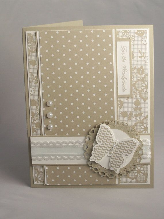 Stampin Up Handmade Greeting Card: Wedding Card, Bridal Shower, Bride, Groom, Son, Daughter, Congratulations, Pearls, Butterfly