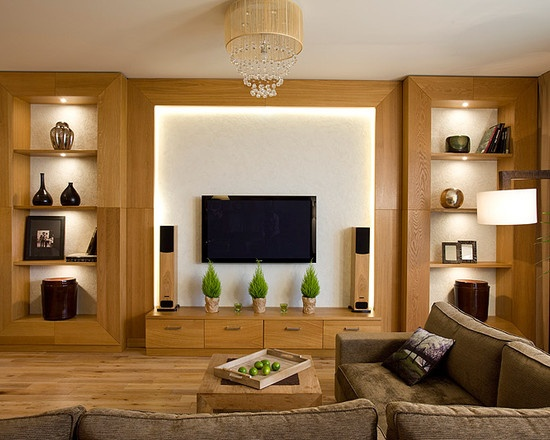 Display cabinets on either side of tv home theater pinterest media room design nice and tvs - Home theatre cabinet designs ...