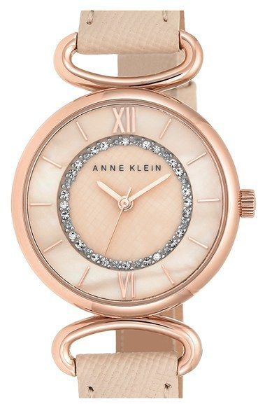 WOMEN'S ANNE KLEIN LEATHER STRAP WATCH, 32MM - Summer Style, pink and rose gold (aff link)