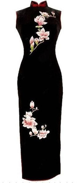 Balck velvet with white magnolia embroidery cheongsam - Custom-made Cheongsam,Chinese clothes, Qipao, Chinese Dresses, chinese clothing,EFU Tailor Shop...