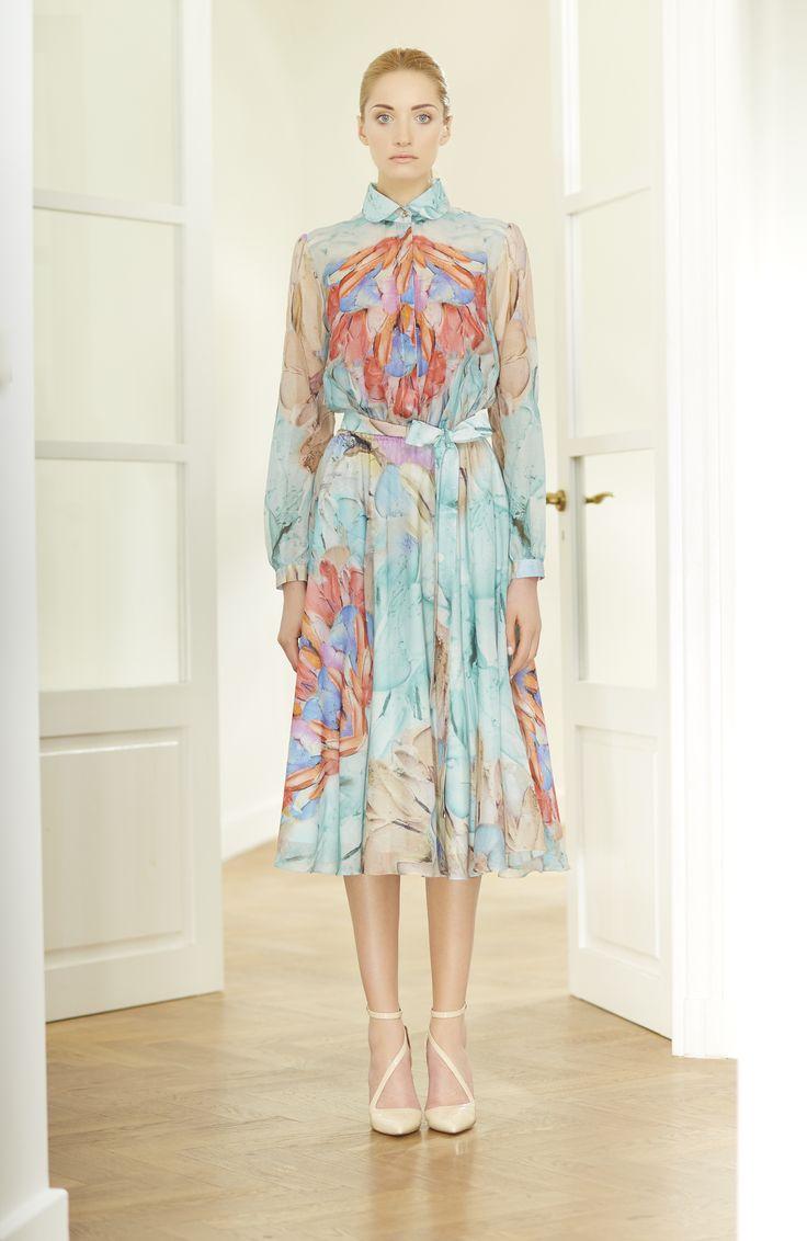 @papillonatelier_warsaw SS 2015 Lookbook, silk printed dress