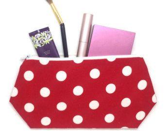 Retro Polka Dot Work Bag, Beach Wedding Favor, Large Cosmetic Bag, Zip Pouch, Makeup Organizer, Bag Womens Everyday, Nautical Tote Bag