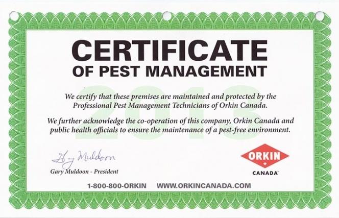 Certificat d'Hygiène et de Salubrité