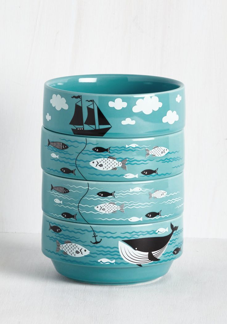 Swell Sea-soned Bowl Set. Add a dash of splashing fun to your kitchen with these stackable ceramic bowls! #blue #modcloth