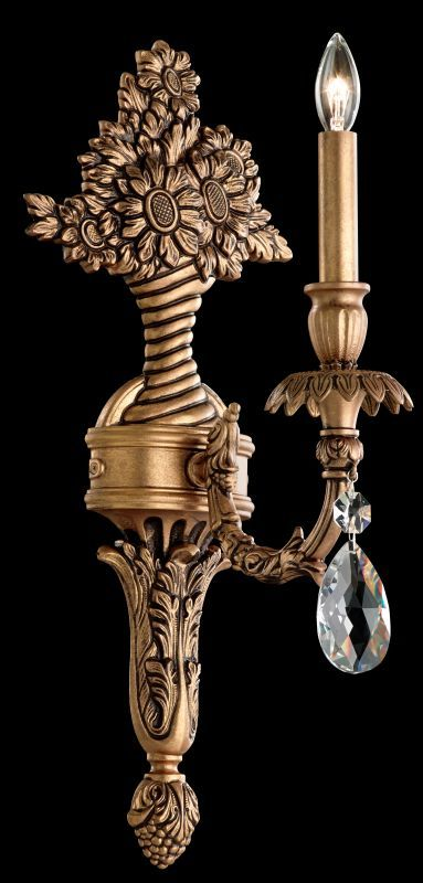 """Schonbek GE4701 8 1/2"""" Wide Single Light Candle-Style Wall Sconce from the Genza Florentine Bronze Indoor Lighting Wall Sconces"""