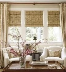Woven Wood Shades with Fabric Window Treatments mediterranean window treatments