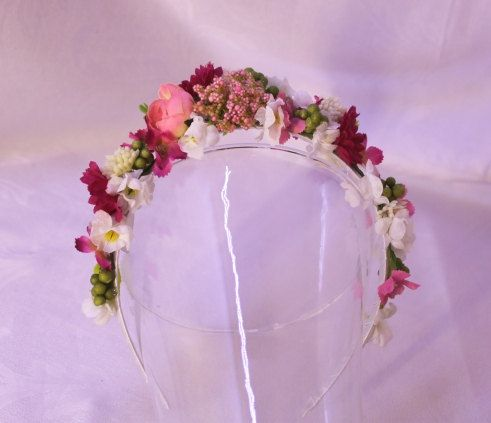 Pink Red Floral headband flowergirl accessory Bridal wedding faerie costume fairy hair flowers 22,71USD on Etsy