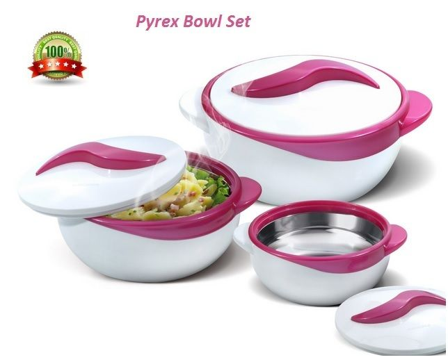 Pyrex Bowl Set 3 Piece Dish Bowls With Lids Salad Vegetable Serving Casserole Purple, Turquoise or Red Product Details: Main colour: Purple ..... see for Turquoise and RedThree (3) Dish Sizes: 0.5 qt 1 qt. 2.5 qt. Inner stainless steel construction and polyurethane insulation Locking lids Holds temperature up to four (4) - six (6) Hours Flexibility Between your errands & the kids' school and extracurricular activities, making dinner is hard enough - and sometimes you may need to stagger…