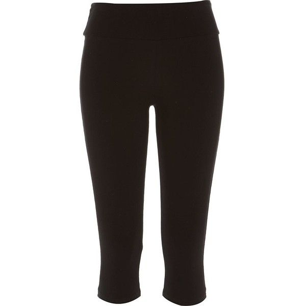 River Island Black pedal pusher leggings ($16) ❤ liked on Polyvore featuring pants, leggings, bottoms, river island, black, women, black yoga leggings, yoga leggings, tall pants and black trousers