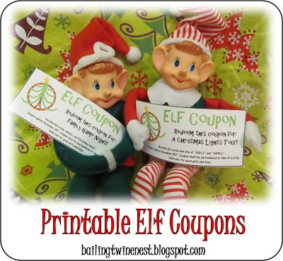 Elf Coupons for Elf on the Shelf - Free Printable Coupons that your elf can leave your child!