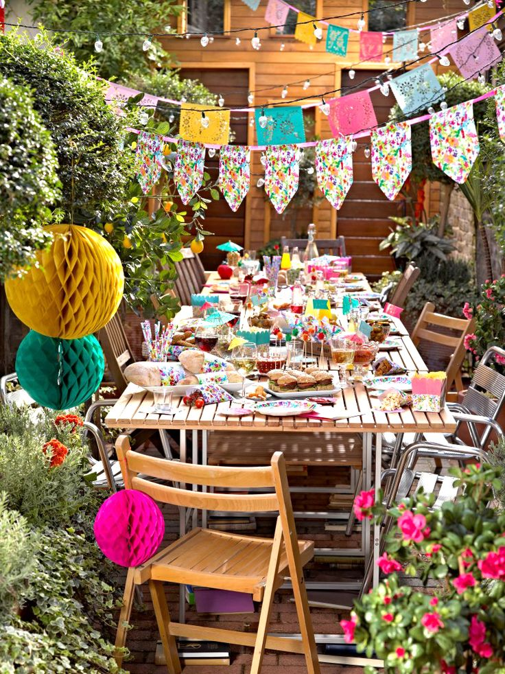colorful summer mexican bbq party all the party decorations and paper tableware you need - Outdoor Decorations For Summer