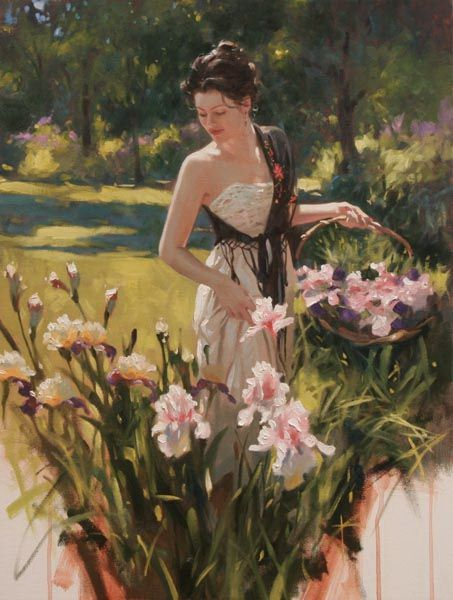 """⊰ Posing with Posies ⊱ paintings of women and flowers - """"Idyll Summer"""" by Richard Johnson"""