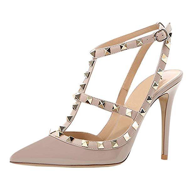 5a147c3729e Mermaid Women's Shoes Pointy Toe Sling Back Studded High Heel ...