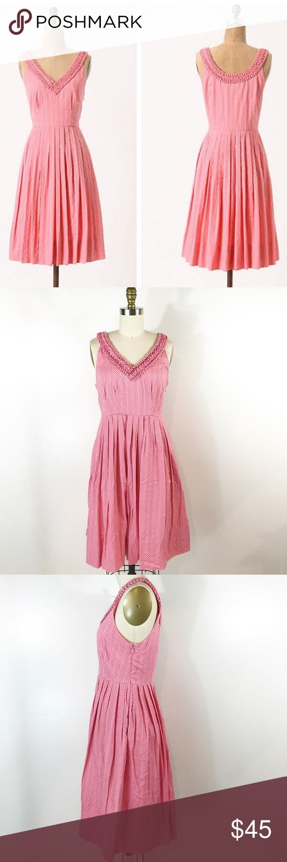 """⭐️ NEW ARRIVAL Anthropologie Melon Ball Dress Pink I adore this vintage style pink polka dot dress! V neck with gathered detail, pleats at the skirt and invisible side zipper. This dress has pockets! Fits a little large, closer to a 4. Bust measures 35"""" and waist measures 28"""". Length 38"""". Very good condition with no issues. Anthropologie Dresses"""