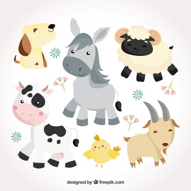 Cute pack of flat baby animals Free Vector