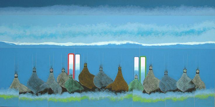 Obra del artista Eduardo Rosales Soto.  Medidas: 100 x 200 cm. Acrílico y lápiz sobre tela.