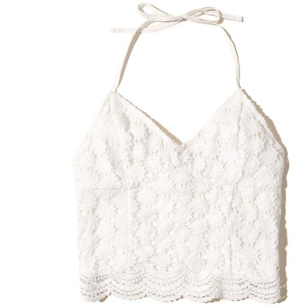 Hollister Lace Halter Crop Top ($30) ❤ liked on Polyvore featuring tops, crop, hollister, shirts, white lace, v neck halter top, lace shirt, white v neck shirt, slim fit shirts and white crop shirt