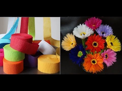 How to make paper flowers out of crepe streamers/ DIY Valentine's day craft - YouTube