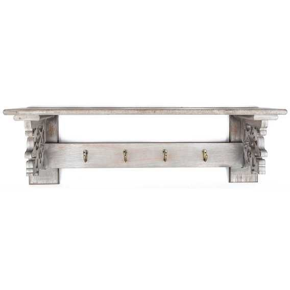 Get Gray Shelf with Carved Ends & 4-Hooks online or find other Shelves & Wall Sconces products from HobbyLobby.com