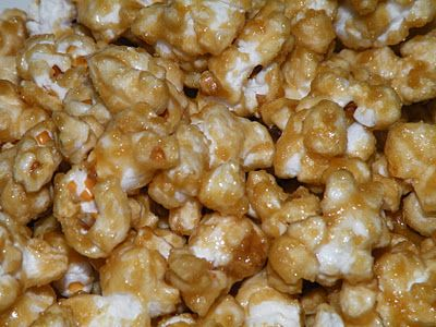 Movie Night Caramel Corn 8 C. popped popcorn 3/4 C. packed brown sugar 6 Tbsp. butter or margarine 3 Tbsp. Corn syrup (or corn syrup substitute) pinch of salt 1/4 tsp. baking soda 1/4 tsp. vanilla Place popcorn in a large casserole dish, set aside. Preheat oven to 300 degrees...