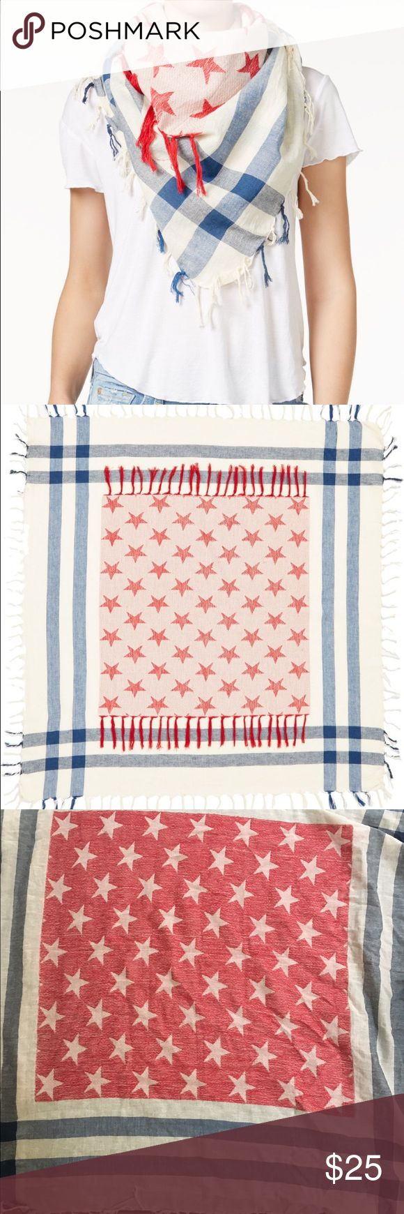 "Collection Eighteen Stars and Stripes scarf!! Stars and stripes define the patriotic-chic style of a lightweight cotton scarf. 40"" square. 100% cotton. 0511116 Collection XIIX Accessories Scarves & Wraps"