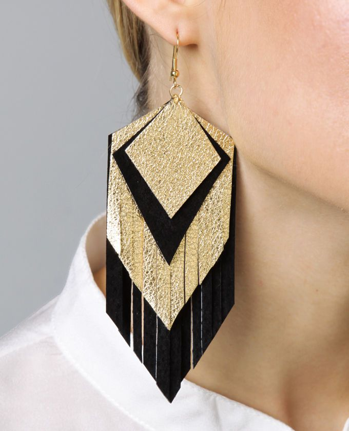 Leather and glitter fabric earrings