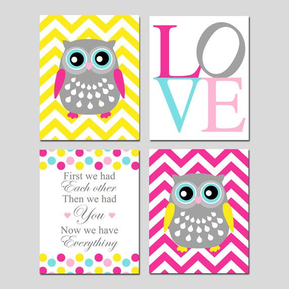 Owl Nursery Quad - Set of Four 11x14 Prints - Chevron Owls, LOVE, First We Had You, Now We Have Everything Quote - Choose Your Colors