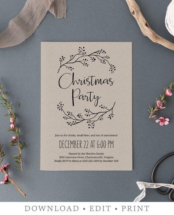 Rustic Christmas Party Invitations Editable Christmas Invitation