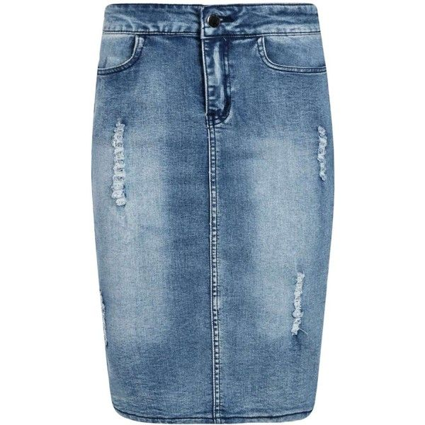 Boohoo Cecelia Ripped Denim Pencil Skirt ($35) ❤ liked on Polyvore featuring skirts, bottoms, boho skirt, blue maxi skirt, pencil skirt, denim maxi skirt and knee length a line skirt