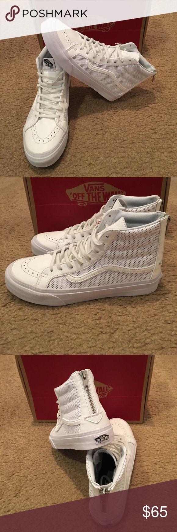 Vans Perforated Leather Sk8Hi Slim Zip New in box. True White Vans Shoes Sneakers