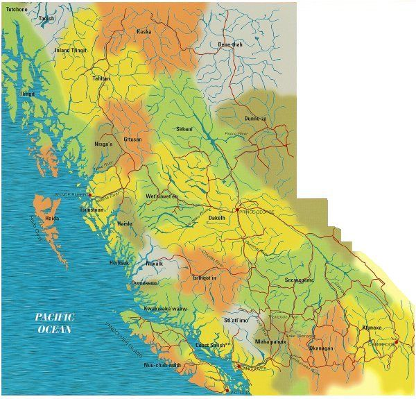 Map of Aboriginal Territories in BC - Importance of Animals to the lives of Aboriginal peoples in BC