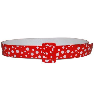 Riem jaren 50 rood/wit. Jaren 50 riem in de kleur rood met witte stippen voor dames. Voor meer jaren 50 accessoires kijk bij ons in de winkel. De lengte is ca. 115 cm.