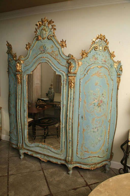 19th Century Venetian Painted Armoire | From a unique collection of antique and modern wardrobes and armoires at https://www.1stdibs.com/furniture/storage-case-pieces/wardrobes-armoires/