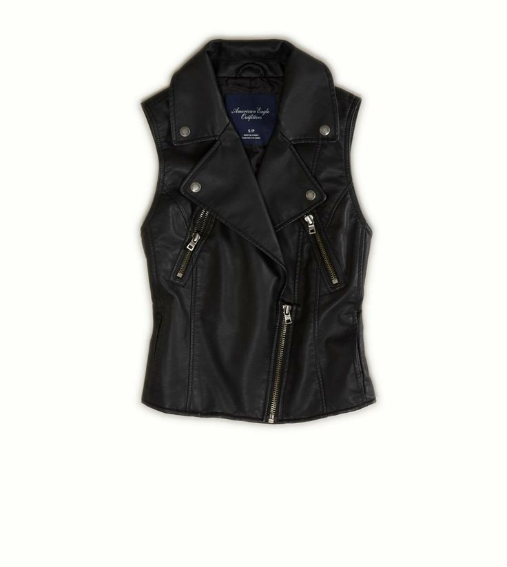 I have a similar faux leather vest from Express--I hope I get to break it out a lot this season! #american eagle #ae #vest AE Vegan Leather Moto Vest