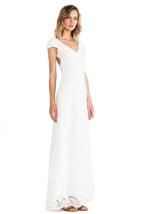 Gorgeous lace maxi dress perfect for a whimsical wedding, and under $500!