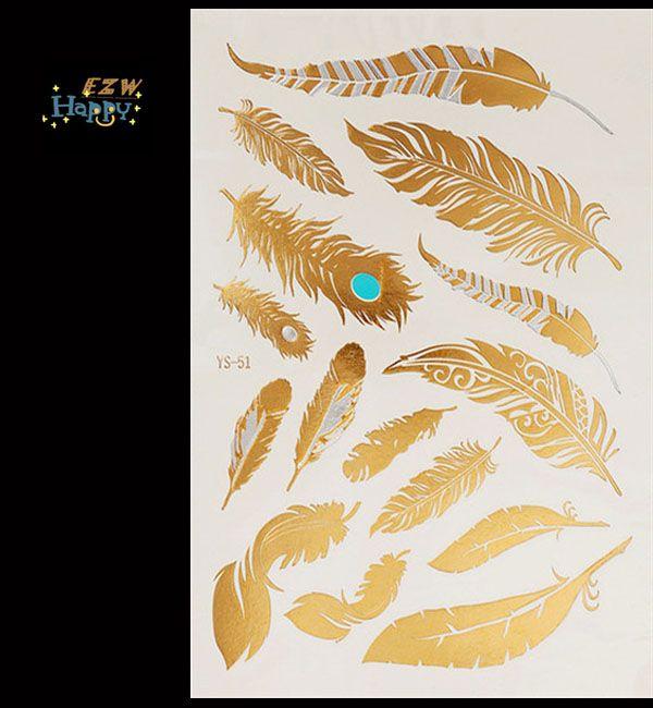 2015 Temporary Metallic Tattoo Gold Silver Black Flash Tattoos Flash Inspired 1PC High Quality body art tattoo sticker tatoo