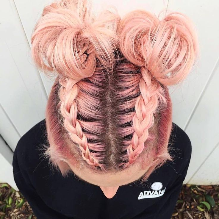 Braids, space buns on pink candy hair @laurenmichellemuaa