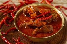 Rajasthani Laal Maans is a tasty meat curry from Rajasthan, India. It is a mutton curry prepared in a sauce of curd, and red chilies.