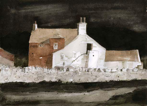 John Knapp-Fisher(British, b.1931)/ The Empty Farmhouse   2009/ Ink and watercolour