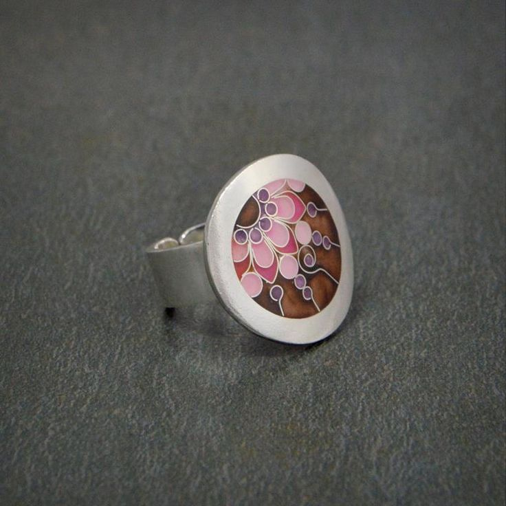 """Silver ring decorated with unique technique of Georgian enamel """"Minankari"""" known as Cloisonne"""