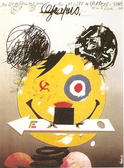 Equipe Grapus, 1981, manifesto per una mostra di manifesti dell' Equipe Grapus tenutasi a li Musèe de l' Affiche a Parigi.