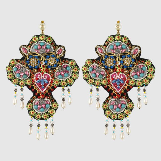 Earrings with crystal embroidery